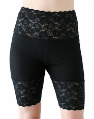 Black Wide Waistband High-Waisted Stretch Lace Shorts