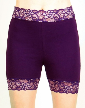 High-Waisted Purple Stretch Lace Shorts