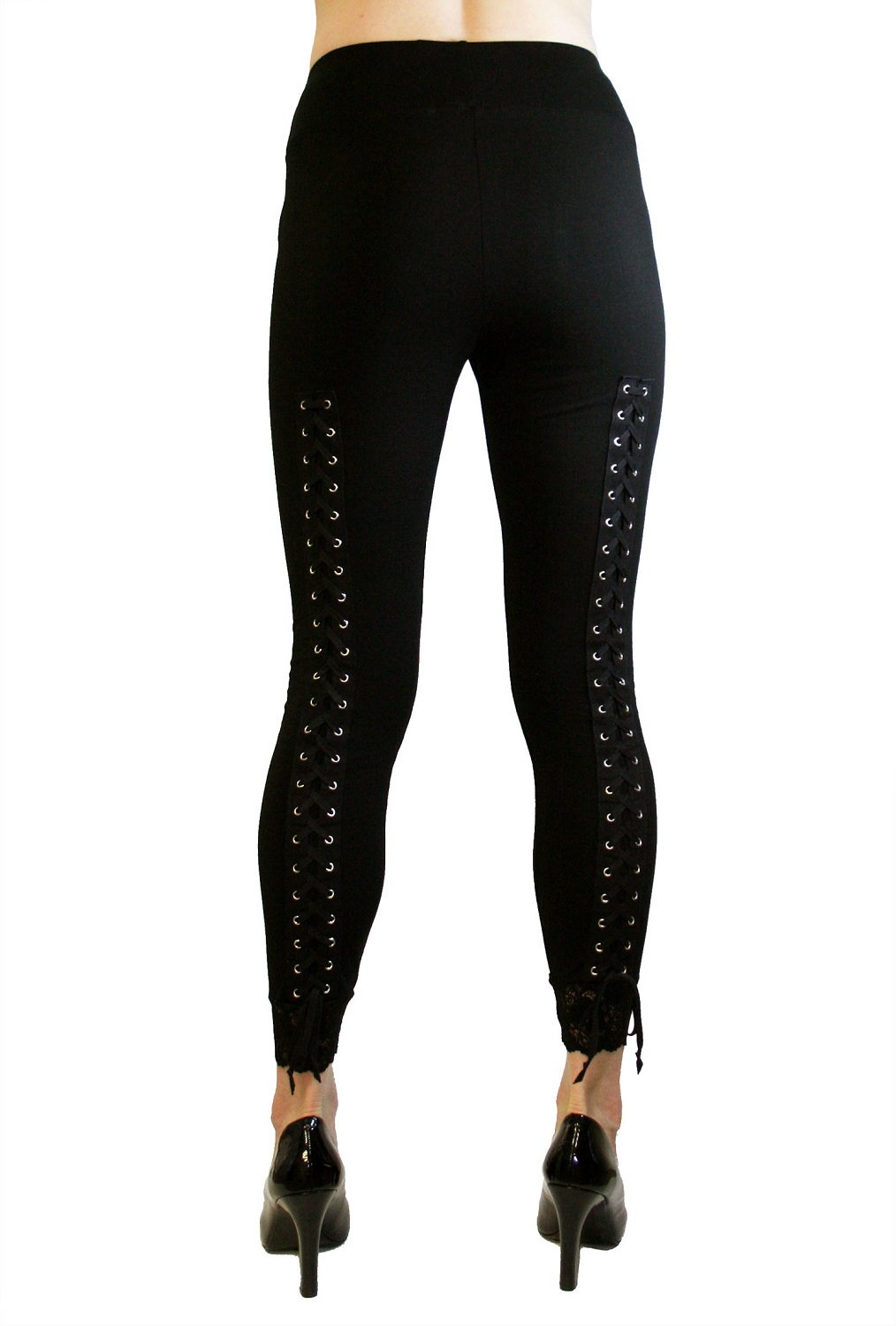 Lace-Up Back Leggings with Black Lacing Plus size corset leggings