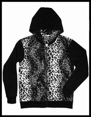 Men's White Leopard and Black Hoodie