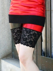 Metallic Red and Black Stretch Lace Shorts