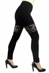 New Black Lace Panel Leggings