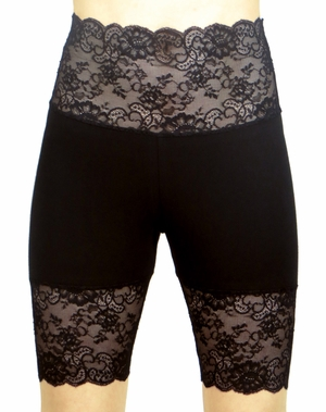New Black Wide Waistband High-Waisted Stretch Lace Shorts