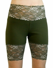 Olive Green Wide Waistband Stretch Lace Shorts
