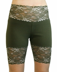 Olive Green Wide Waistband Stretch Lace Shorts (temporarily out of stock)