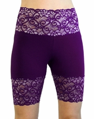 Purple Wide Waistband Stretch Lace Shorts