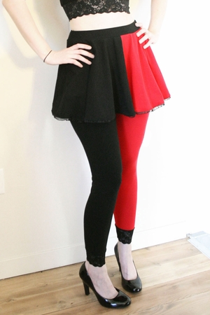 Red and Black Cotton Harley Quinn Circle Skirt