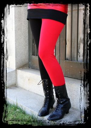 Red and Black Cotton Lace-Waist Leggings