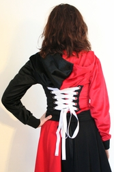 Red and Black Cropped Corset Hoodie