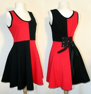 Red and Black Lace-Up Back Mini Dress