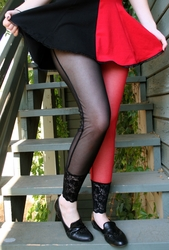 Red and Black Mesh Leggings