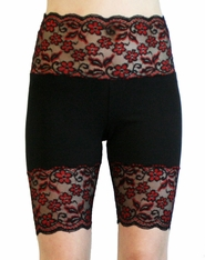 Red and Black Scalloped Stretch Lace Shorts