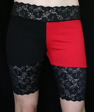 Red and Black Stretch Lace Shorts