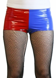 Red and Blue Vinyl Harley Quinn Booty Shorts