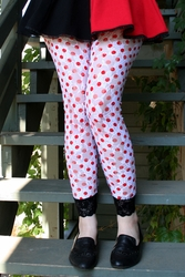 Red and White Polkadot Lace Leggings