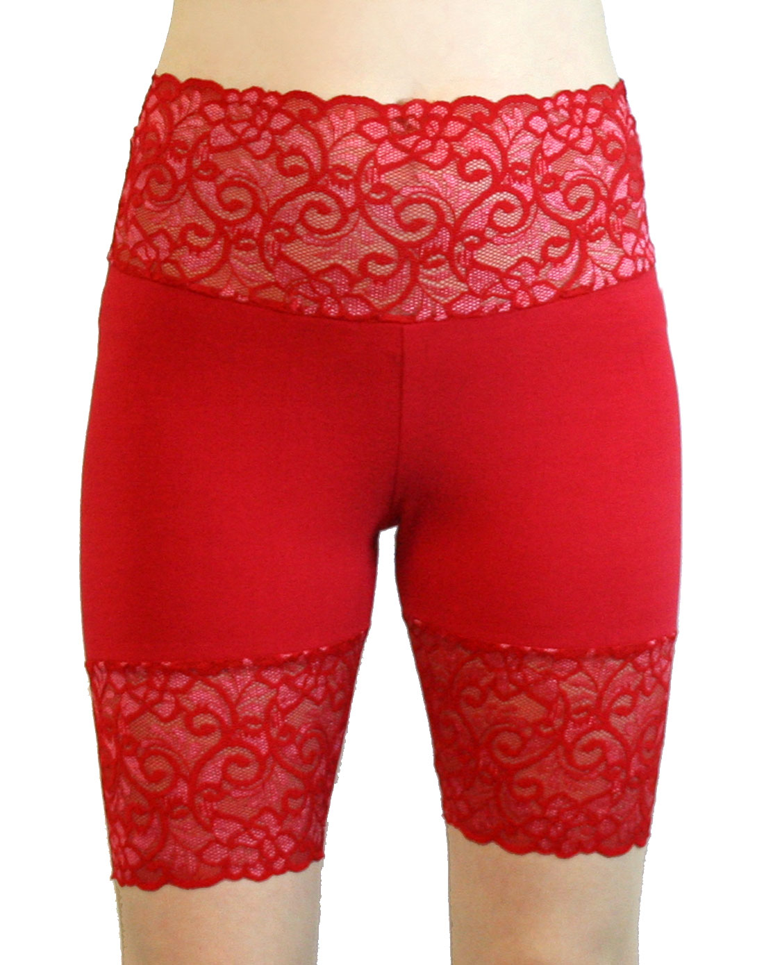 Bright Red High-waisted Wide Waistband Stretch Lace Shorts Plus Size