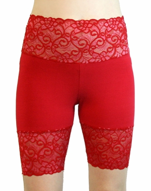 Bright Red Wide Waistband Stretch Lace Shorts