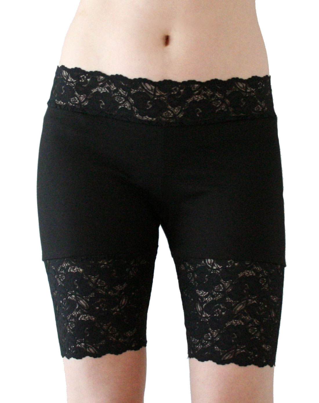 Peek-a-boo lace and a scalloped hem give these plus size short shorts from City Chic softly feminine sizzle. High rise; relaxed fit through hips and thighs; Approx. inseam: 5