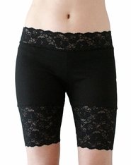 Black Stretch Lace Shorts