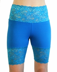 Teal Wide Waistband Stretch Lace Shorts