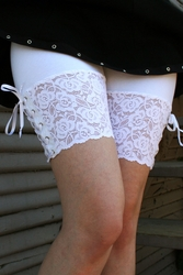 White Lace-Up Stretch Lace Shorts