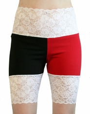 Red, Black, and White Wide Waistband Stretch Lace Shorts