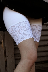 White Stretch Lace Shorts