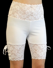 White Wide Waistband Lace-Up Stretch Lace Shorts
