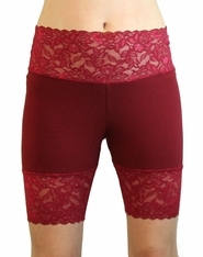 Burgundy Wide Waistband Stretch Lace Shorts