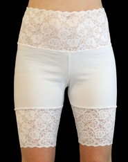 Wide Waistband High-Waisted White Stretch Lace Shorts (OUT OF STOCK, NEW VERSION COMING SOON)
