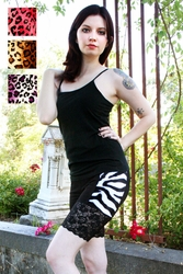 Zebra or Leopard Fur Stretch Lace Shorts