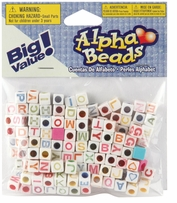Alphabet Beads White Beads With Assorted Color Letters