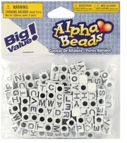 Alphabet Beads White Beads With Black Letters