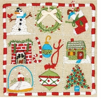 Amy Powers Christmas Sampler Embroidery Kit Stitched In Thread 6inX6in