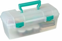 ArtBin Essentials Lift Out Box With Handle Clear with Teal Handle