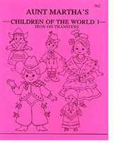 Aunt Martha's Iron-On Transfer Books Children Of The World