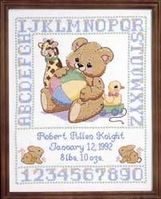 Bear Birth Sampler Stamped Cross Stitch Kit - Click to enlarge