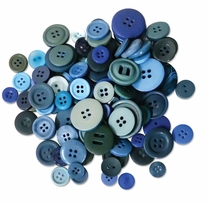 Button Embellishment Fashion Dyed Buttons Blues 60g