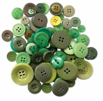 Button Embellishment Fashion Dyed Buttons Greens 60g