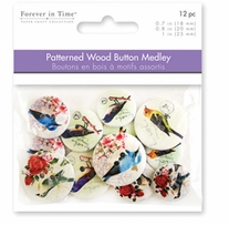 Button Embellishment Patterned Wood Birds