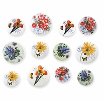 Button Embellishment Patterned Wood Floral Fancy