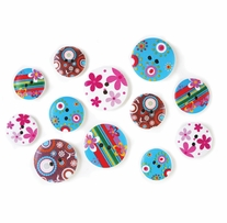 Button Embellishment Patterned Wood Funky