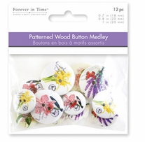 Button Embellishment Patterned Wood Vintage Floral