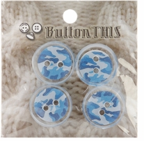 ButtonTHIS Novelty Buttons 1in Blue Camoflage 4/Pkg