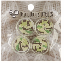 ButtonTHIS Novelty Buttons 1in Green Camoflage 4/Pkg