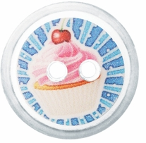 ButtonTHIS Novelty Buttons 1in Pink Cupcake 4/Pkg