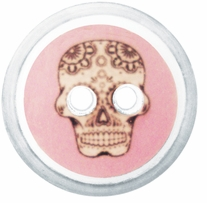 ButtonTHIS Novelty Buttons 1in Pink Skull 4/Pkg