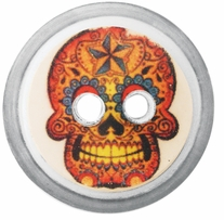 ButtonTHIS Novelty Buttons 1in Rainbow Skull 4/Pkg