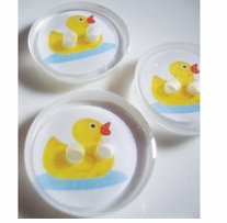 ButtonTHIS Novelty Buttons 1in Rubber Ducky 4/Pkg