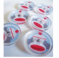 ButtonTHIS Novelty Buttons 1in Sock Monkey 4/Pkg